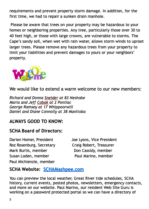 2018 Fall Newsletter - SOUTH CAPE HOMEOWNERS ASSOCIATION